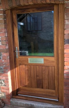 Iroko Half Glazed Door