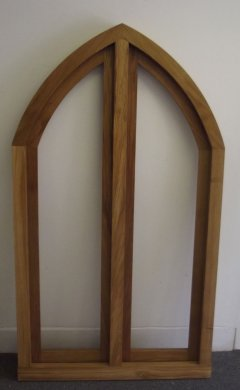 oak arched curved wooden window