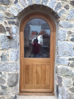 wooden Oak TG&V Half Glazed Curved External Door