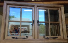Traditional Oak casement window stick on glazing beads black monkey tail stays and fasteners