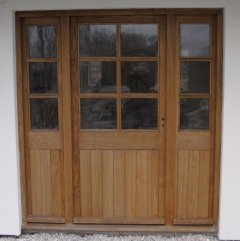 External wooden Oak Door with Side Lights