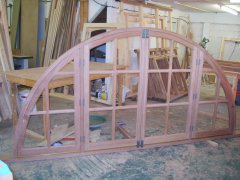 Sapele semi circular curved window opening casements