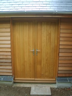 Double wooden Oak TG&V External Door and Frame