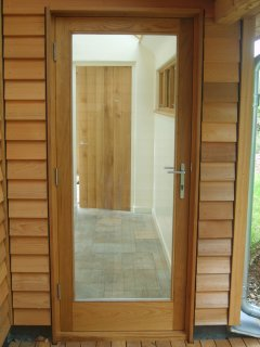 fully glazed external oak door and frame