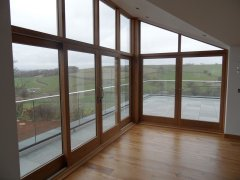 wooden oak fully glazed screen 2 lift & slide doors